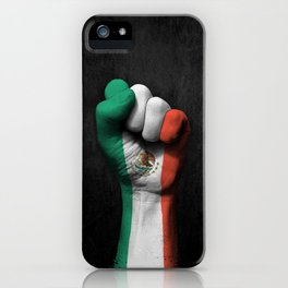 Mexican Flag on a Raised Clenched Fist iPhone Case