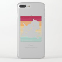 Unicorn Narwal Whale Riding Vintage Retro Clear iPhone Case