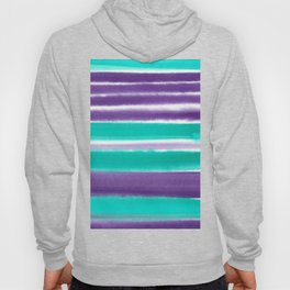 Teal and Purple Watercolor Stripes Hoody