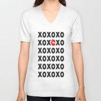 xoxo V-neck T-shirts featuring XOXO by DuniStudioDesign