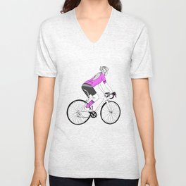 Girl Cyclist Unisex V-Neck