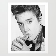 The King Presley Ballpoint Pen Drawing  Art Print