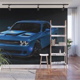 B5 Blue Hellcat Challenger SRT Wall Mural