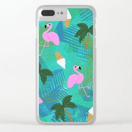 Hot Flamingos Clear iPhone Case