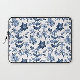 Monochrome Blue Alpine Flora Laptop Sleeve