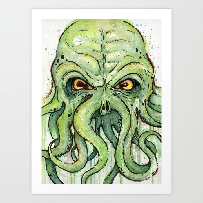 Cthulhu HP Lovecraft Green Monster Tentacles Art Print