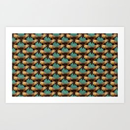 Brown Moths On Teal Art Print
