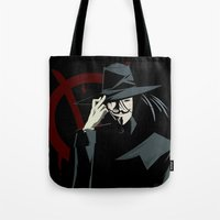 vendetta Tote Bags featuring V for Vendetta (e1) by Ezgi Kaya