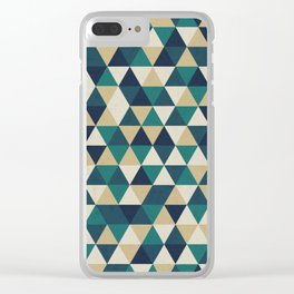 Foggy Petrol and Blue - Hipster Geometric Triangle Pattern Clear iPhone Case