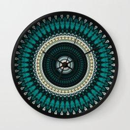 Mandala Fractal in Teal Study 01 Wall Clock
