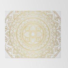 Hand Drawn Gold Bali Mandala Throw Blanket