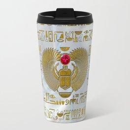 Egyptian Scarab Beetle Gold and Ruby Stone Travel Mug