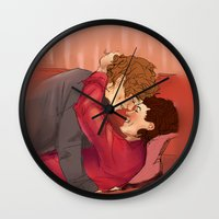 larry stylinson Wall Clocks featuring family larry by mrsadfran