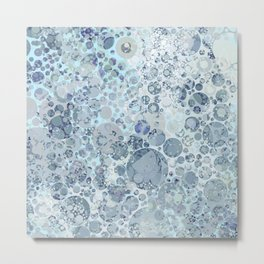 Abstract Faded Blue Grey Bubbles Metal Print