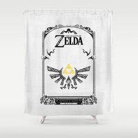 legend of zelda Shower Curtains featuring Zelda legend - Hyrulian Emblem by Art & Be