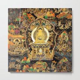 Buddha Life Autumn Gold Thangka Metal Print