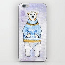 Polar bear in sweater iPhone Skin