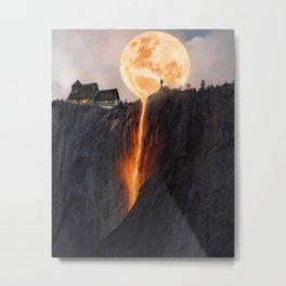 Fire Moon Lava Mountain, Magical Sky Metal Print