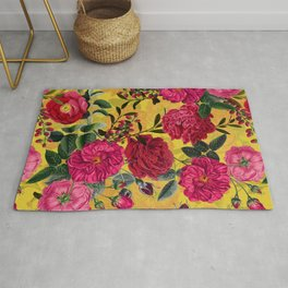 Vintage & Shabby Chic - Summer Tropical Roses Flower Garden Rug