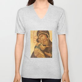 Orthodox Icon of Virgin Mary and Baby Jesus Unisex V-Neck