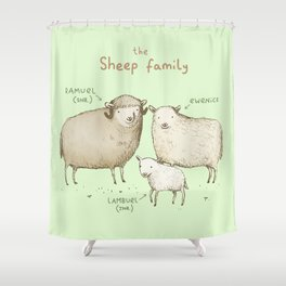 The Sheep Family Shower Curtain