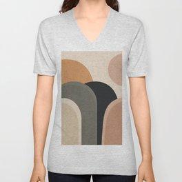 abstract minimal sunrise Unisex V-Neck