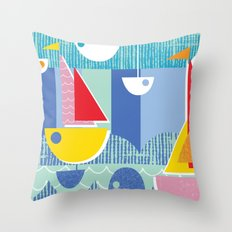 Atomic Mid Century Modern Boats Placement Print 3 Throw Pillow