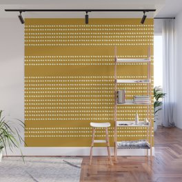 Spotted, Mudcloth, Mustard Yellow, Wall Art Boho Wall Mural