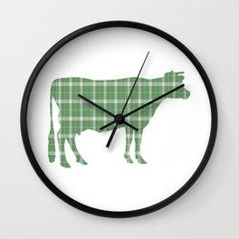 Cow: Green Plaid Wall Clock