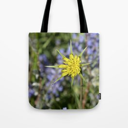 Yellow salsify wildflower against lupine Tote Bag