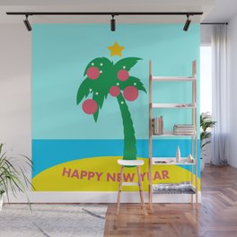 Tropical landscape with Christmas palm tree Wall Mural
