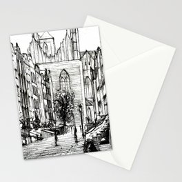 GOTHIC STREET OF POLISH CITY GDANSK IN GREY TONES Stationery Cards