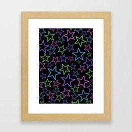 Neon Stars Framed Art Print
