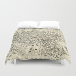 Vintage Map of Edinburgh Scotland (1844) Duvet Cover