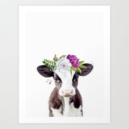 Baby Cow with Flower Crown Art Print