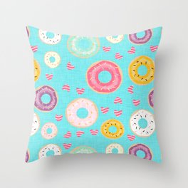 hearts and donuts blue Throw Pillow