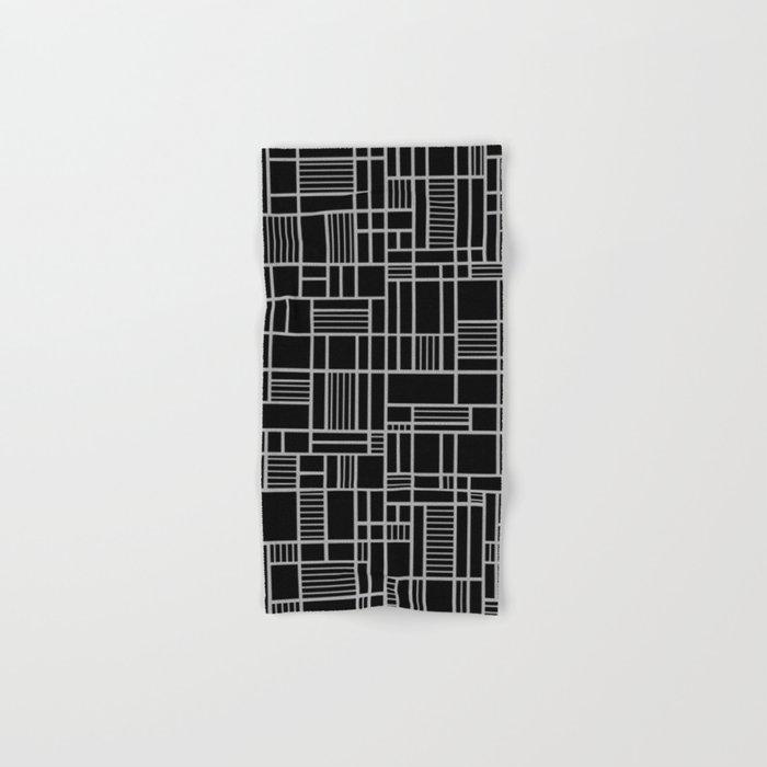 Map Outline White on Black Hand & Bath Towel