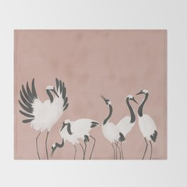 Crane Dance - Mauve Pink Throw Blanket