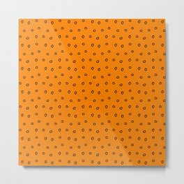 Orange background with black minimal hand drawn ring pattern Metal Print