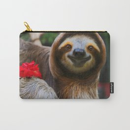 Happy sloth eating hibiscus flowers Carry-All Pouch