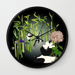 Panda's Playground - Dark Version Wall Clock