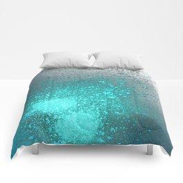 Vibrant Aqua and Grey Spray Paint Splatter Comforters