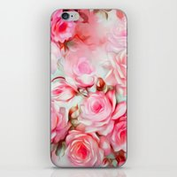 shabby chic iPhone & iPod Skins featuring Shabby Chic Pink by Jacqueline Maldonado