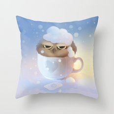 cup of owl Throw Pillow
