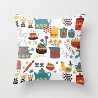 kitchen Throw Pillows featuring Kitchen by Kathrin Legg