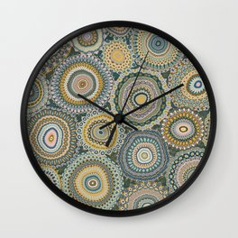 Boho Patchwork-Mineral Colors Wall Clock