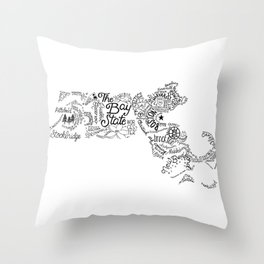 Massachusetts - Hand Lettered Map Throw Pillow