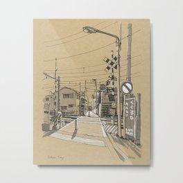 A Railroad Crossing in Tokyo Metal Print
