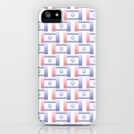 Mix of flag : france and israel 2 with color gradient iPhone Case
