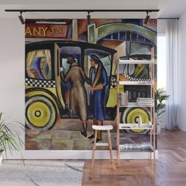 1924 American Masterpiece 'Taxicabs' by Fred Gardner Wall Mural